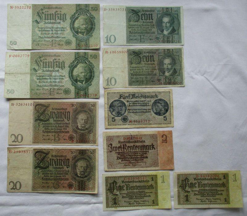 10 alte Banknoten Deutsches Reich 1 bis 50 Mark (123664)