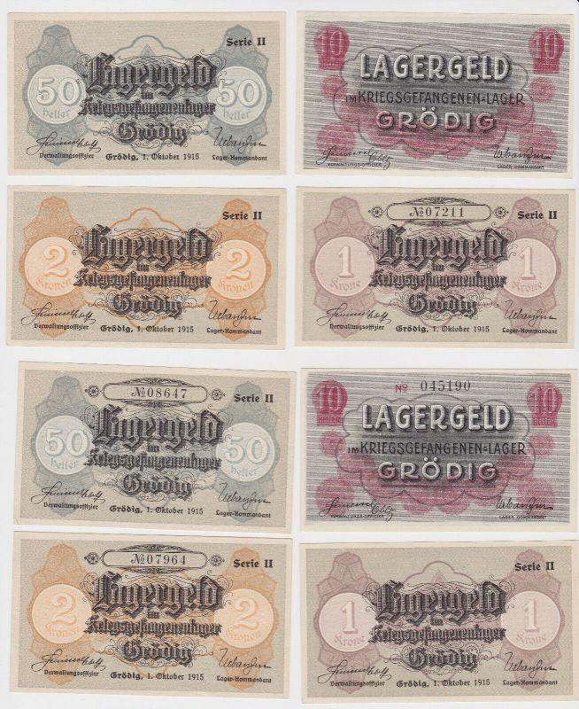 4 Banknoten Kriegsgefangenenlager Grödig 1.Oktober 1915 (130386)