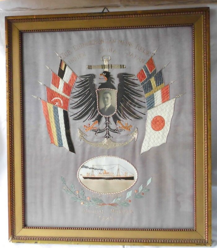 Besticktes gerahmtes Bild Weltreise China Japan 1925 (111874)