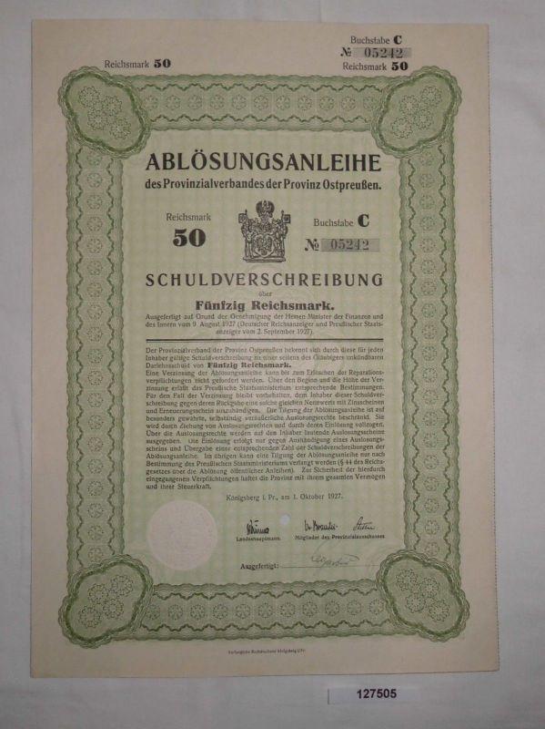 50 Reichsmark Auslosungsschein Provinzialverband Ostpreußen 1.Okt.1927 (127505)