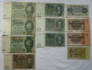 11 alte Banknoten Deutsches Reich 1 bis 50 Mark (123732)