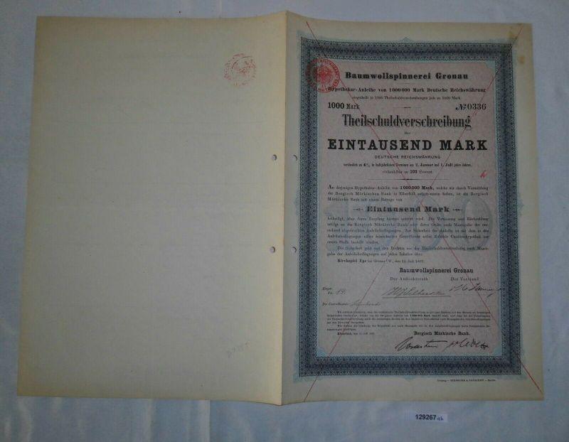 1000 Mark Teilschuldverschreibung Baumwollspinnerei Gronau 15.Juli 1897 (129267)
