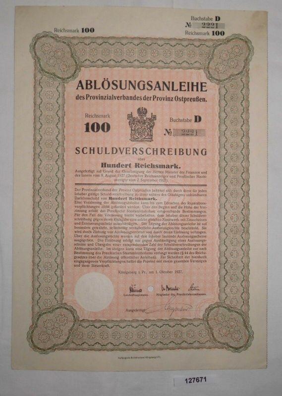 100 Reichsmark Auslosungsschein Provinzialverband Ostpreußen 1.Okt.1927 (127671)
