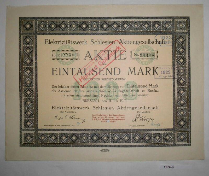 1000 Mark Aktie Elektrizitätswerk Schlesien AG Breslau 11. Juli 1921 (127426)
