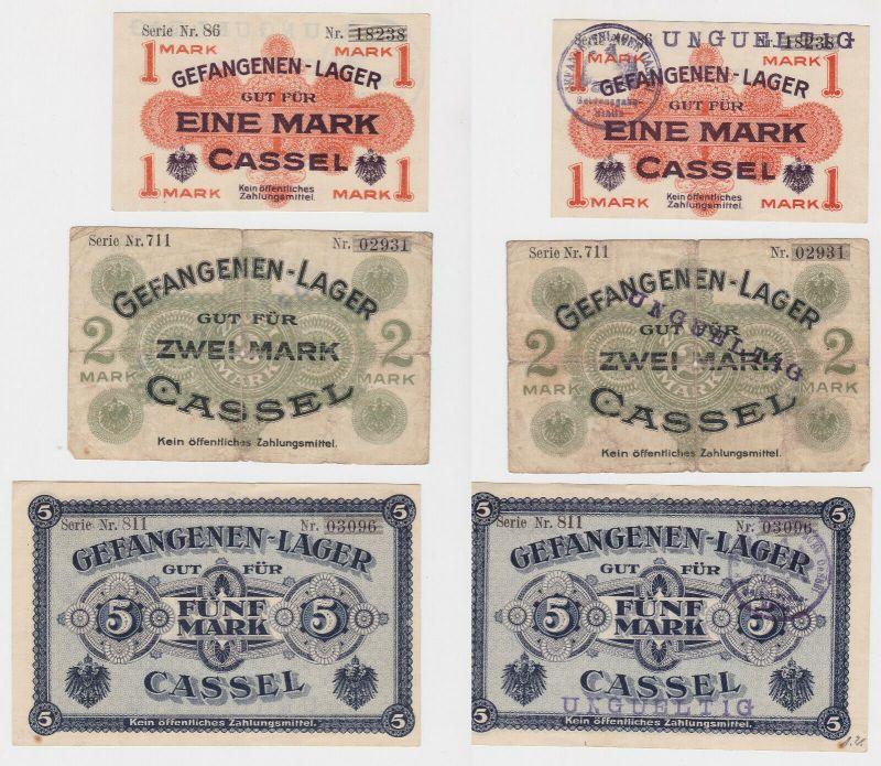 3 Banknoten Gefangenenlager Cassel 1.Weltkrieg (130120)