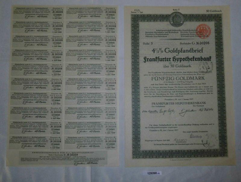 50 Goldmark Pfandbrief Frankfurter Hypothekenbank 1. Januar 1927 (129268)