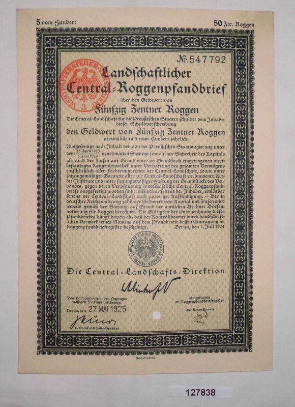 50 Zentner Roggen Pfandbrief Central Landschaft preußischer Staaten 1925 /127838