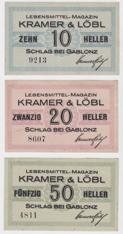 3 Banknoten Lebensmittel Magazin Kramer & Löbl Schlag bei Gablonz (130232)