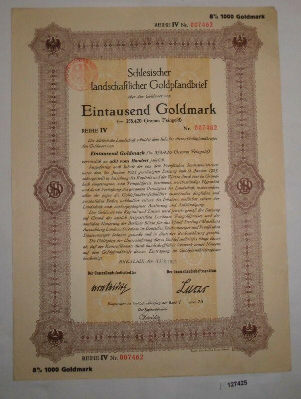 1000 Goldmark schlesischer landschaftlicher Goldpfandbrief Breslau 1925 (127425)