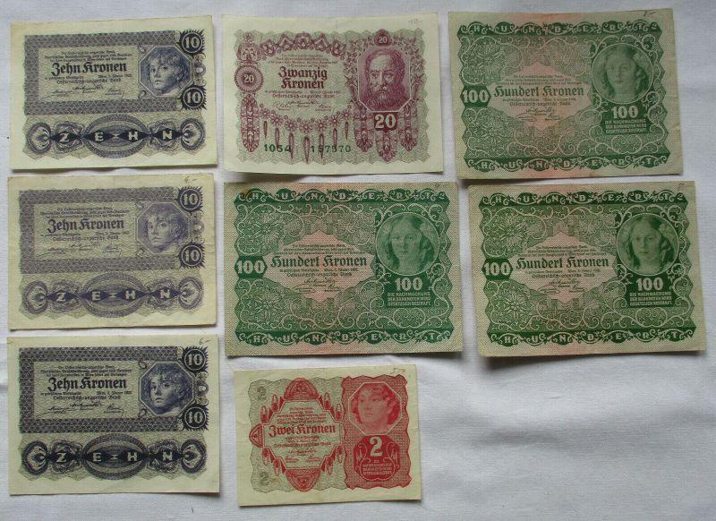 8 Banknoten 2 bis 100 Kr. Österreichisch Ungarische Bank 2.Januar 1922 (125207)