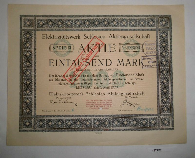 1000 Mark Aktie Elektrizitätswerk Schlesien AG Breslau 1. April 1920 (127424)