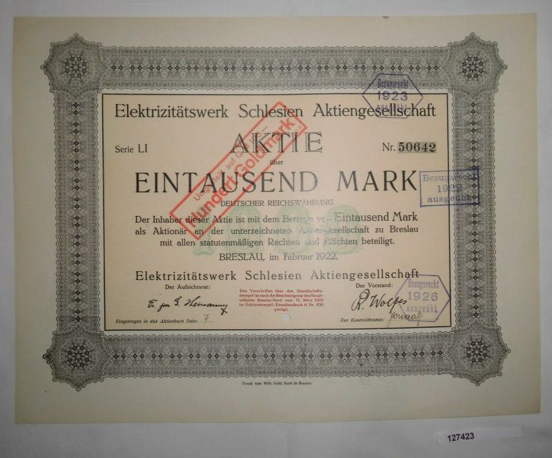1000 Mark Aktie Elektrizitätswerk Schlesien AG Breslau Februar 1922 (127423)