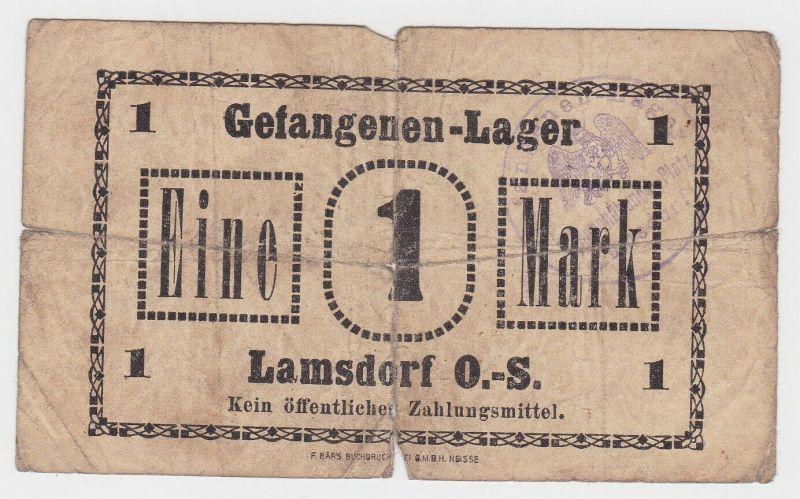 1 Mark  Banknote Gefangenenlager Lamsdorf Oberschlesien 1.Weltkrieg (130787)