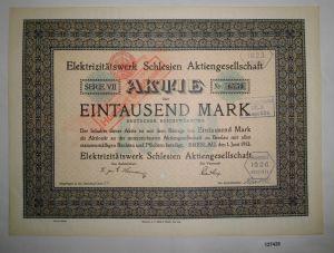 1000 Mark Aktie Elektrizitätswerk Schlesien AG Breslau 1. Juni 1913 (127428)
