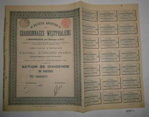 Stückaktie Sozietät der westfälischen Kohlenbergwerke Breidscheid 1899 (127417)