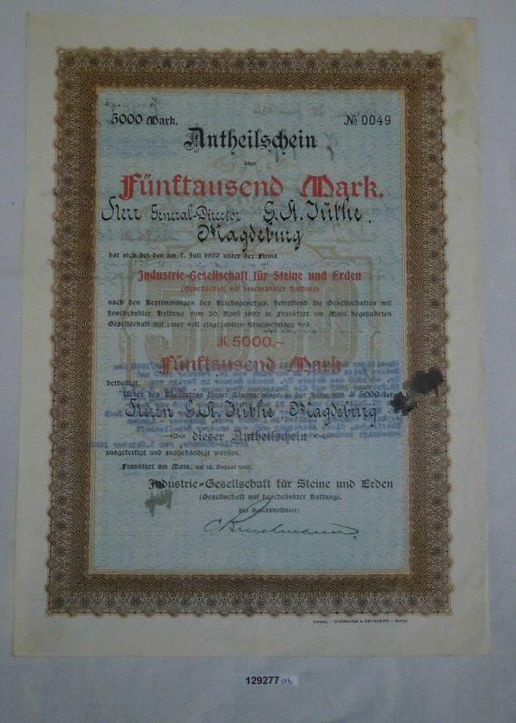 5000 Mark Anteilsschein Industrie-Gesellschaft für Steine & Erde 1900 (129277)