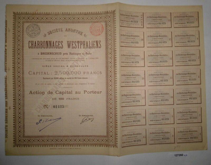 100 Franc Aktie Sozietät der westfälischen Kohlenbergwerke Breidscheid (127260)
