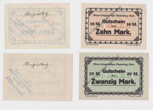 10 & 20 Mark Banknoten Offizier-Gefangenenlager Kamstigall (Ostpreußen) (130316)