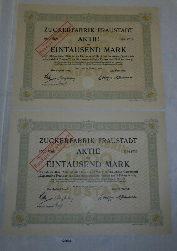 2x 1000 Mark Aktie Zuckerfabrik Fraustadt Dezember 1921 (129666)
