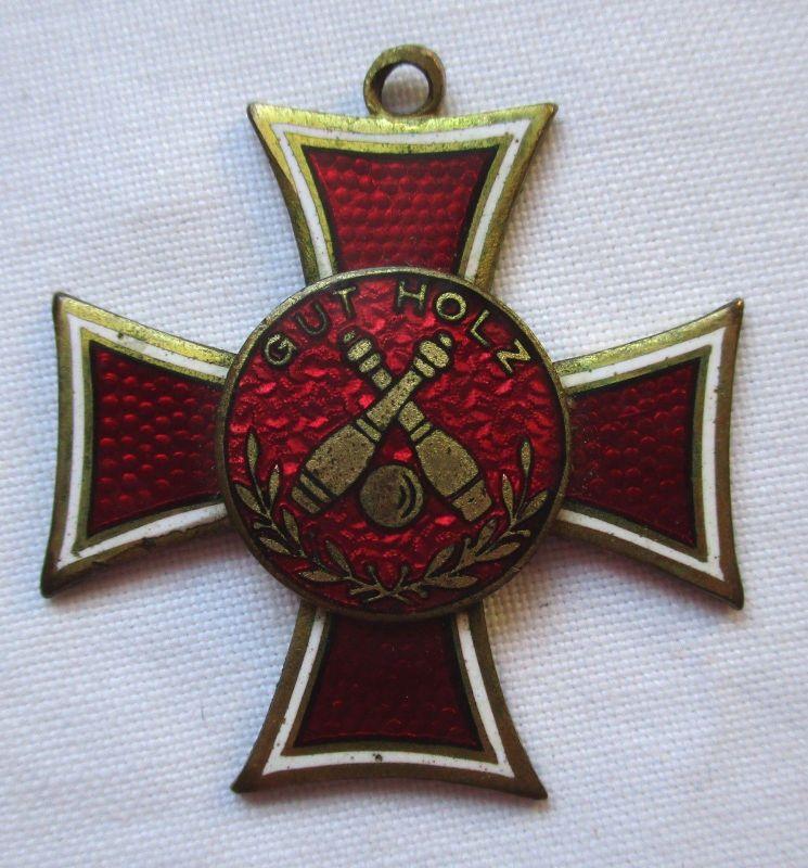 Emailierter Orden Kreuz Keglerverein Gut Holz gekreuzte Kegel (126003)