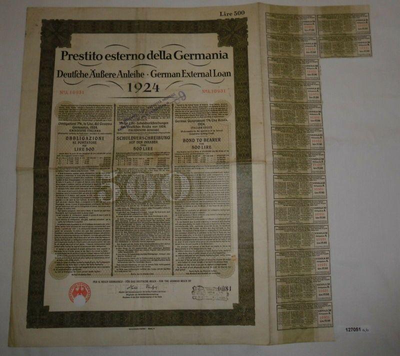 500 Lire Schuldverschreibung Dt. Reich italienische Ausgabe Berlin 1924 (127051)