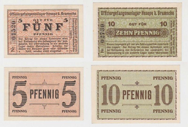 5 & 10 Pfennig Banknoten Offiziersgefangenenlager Hesepe bei Bramsche (130160)