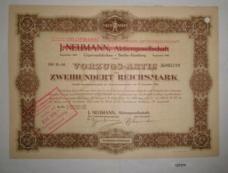 200 RM Aktie J.Neumann AG Gildemann Cigarrenfabriken AG Berlin Dez 1922 (127214)