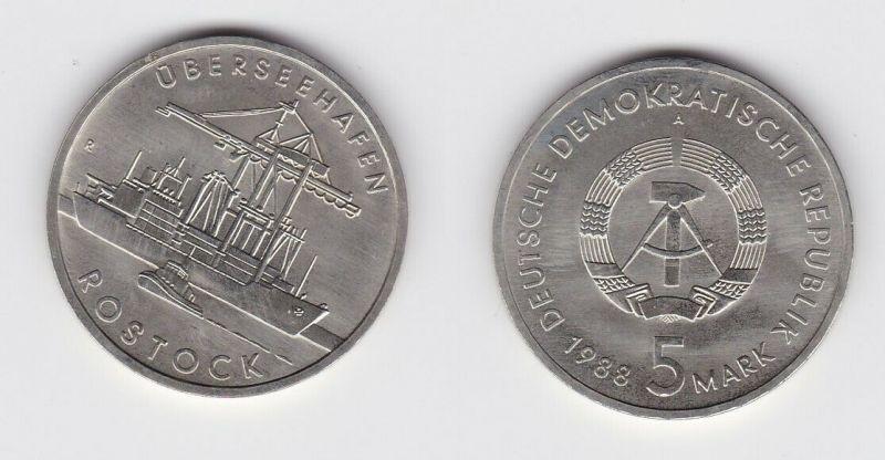 DDR Gedenk Münze 5 Mark Überseehafen Rostock 1988 Stempelglanz (125170)