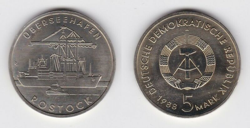 DDR Gedenk Münze 5 Mark Überseehafen Rostock 1988 Stempelglanz (123980)