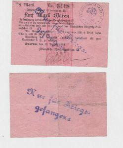5 Mark Banknote Knurow königliche Berginspektion 1914 (130252)