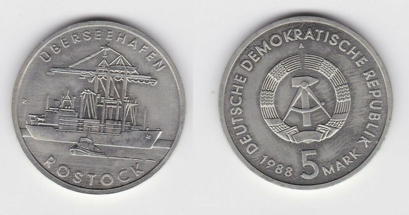 DDR Gedenk Münze 5 Mark Überseehafen Rostock 1988 Stempelglanz (121224)