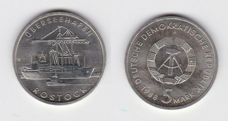DDR Gedenk Münze 5 Mark Überseehafen Rostock 1988 (124009)