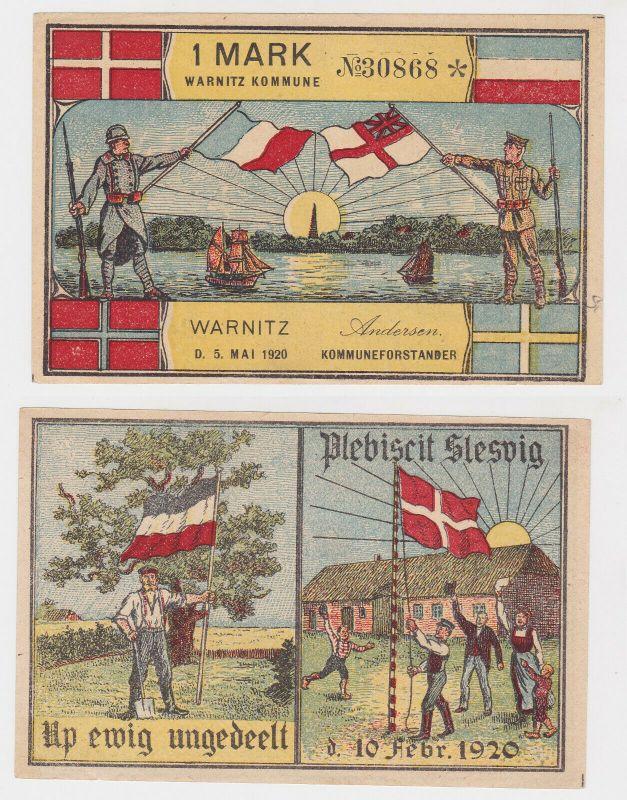 1 Mark Banknote Notgeld Gemeinde Kommune Warnitz Dänemark 1920 (130491)