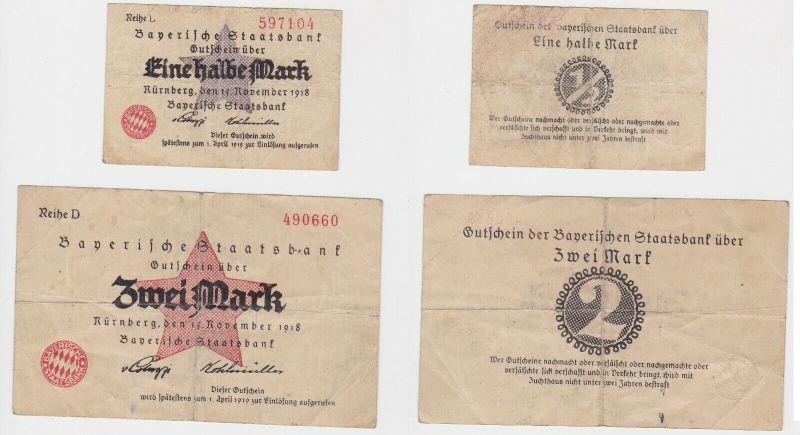 1/2 & 2 Mark Banknoten Bayerische Staatsbank Nürnberg 1918 (130058)