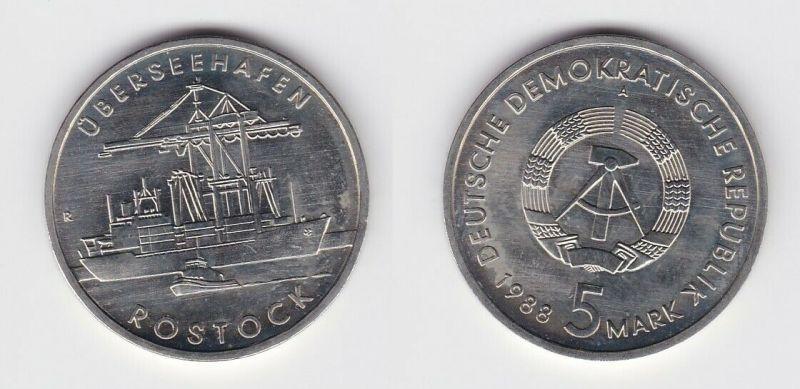 DDR Gedenk Münze 5 Mark Überseehafen Rostock 1988 (122009)