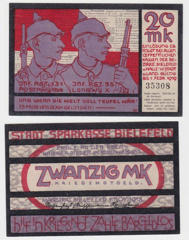 20 Mark Banknote Großnotgeld Stadt Bielefeld 1.11.1918 (130228)