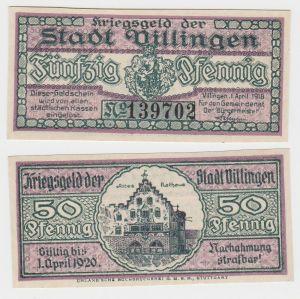 50 Pfennig Banknote Kriegsgeld der Stadt Villingen 1.April 1918 (130225)