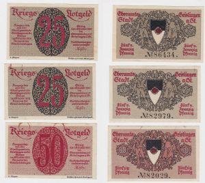 3 Banknoten Kriegsnotgeld Oberamtsstadt Geislingen a.St. 1920 (130407)