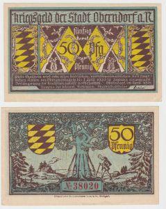 50 Pfennig Banknote Kriegsgeld der Stadt Oberndorf a.N. 1918 (130221)