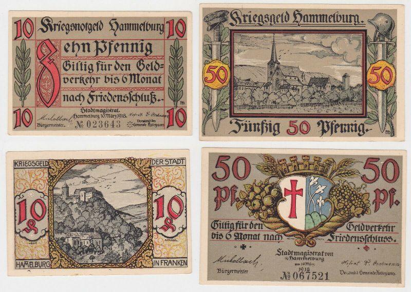 10 und 50 Pfennig Banknoten Kriegsgeld Hammleburg 10.März 1918 (130381)
