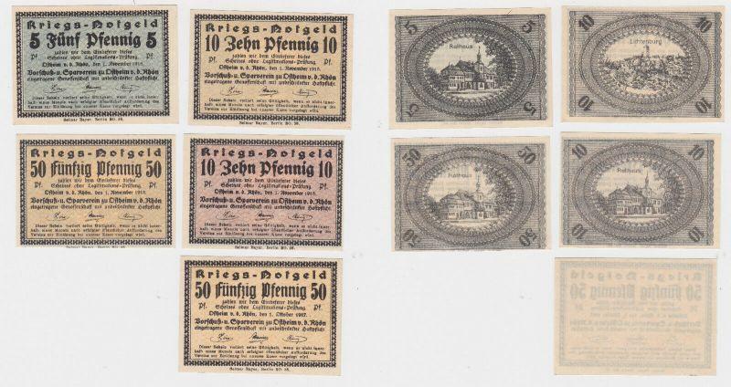 5 Banknoten Kriegsgeld Vorschuß & Sparverein zu Ostheim v.d.Rhön 1918 (130387)