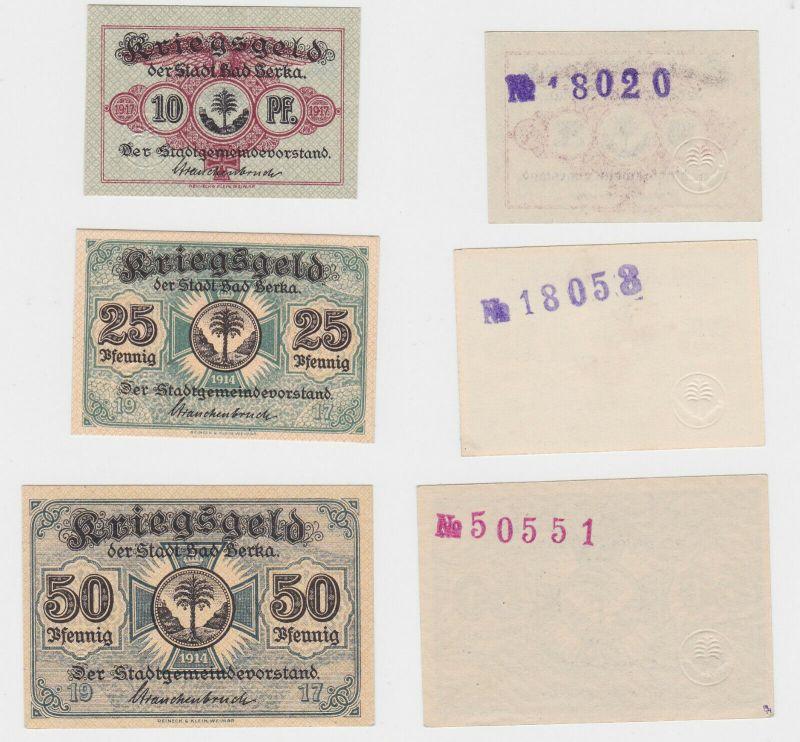 10,25 & 50 Pfennig Banknoten Kriegsgeld der Stadt Bad Berka 1917 (130270)