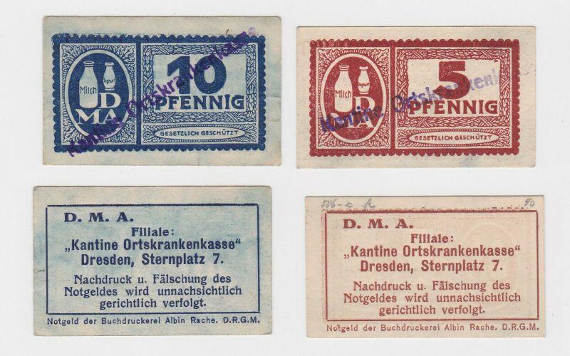5 & 10 Pfennig Banknoten Notgeld DMA Dresden Dresden Sternplatz 7 (130704)