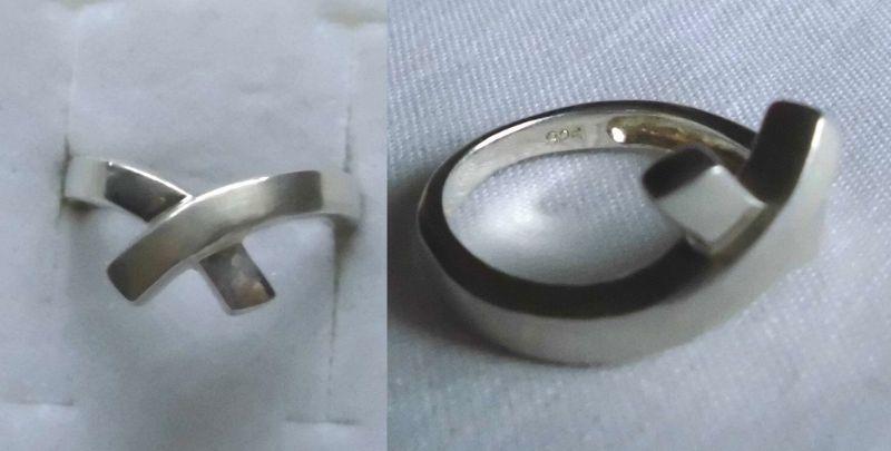 Dekorativer Damenring 925er Silber gekreuzt matt und glänzend (113929)