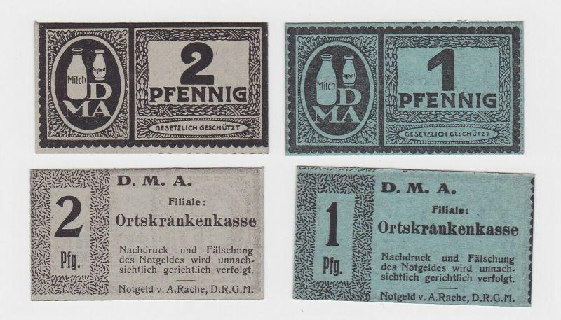 1 & 2 Pfennig Banknoten Notgeld DMA Dresden Filiale Ortskrankenkasse (130714)