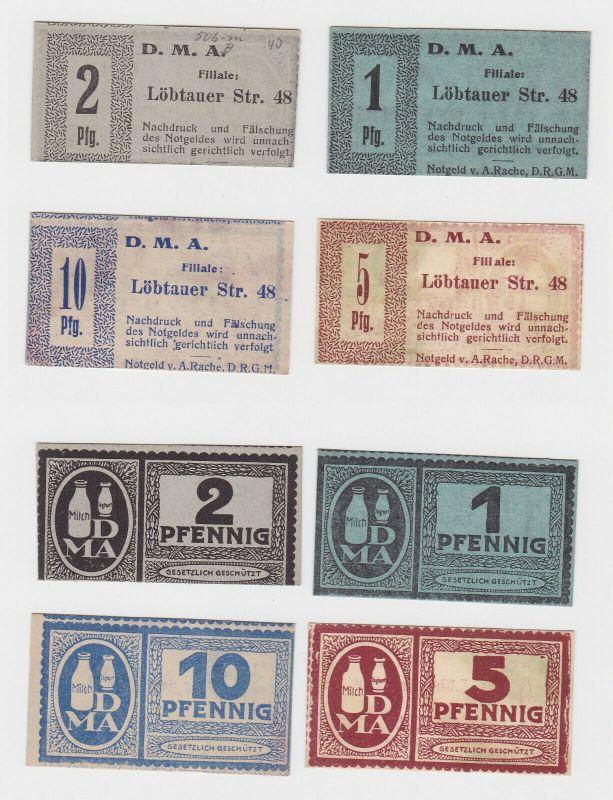 1, 2, 5 & 10 Pfennig Banknoten Notgeld DMA Dresden Löbtauer Strasse 48 (130655)