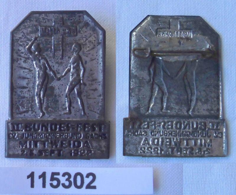 Altes Blech Abzeichen III.Bundesfest Jungmännerbund Mittweida 1922 (115302)