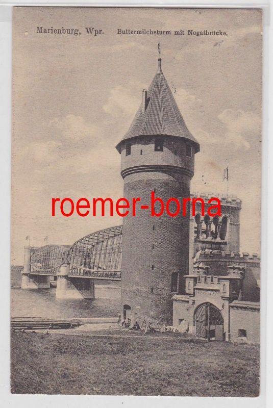 84557 Ak Marienburg Westpreussen Buttermilchsturm mit Nogatbrücke 1915