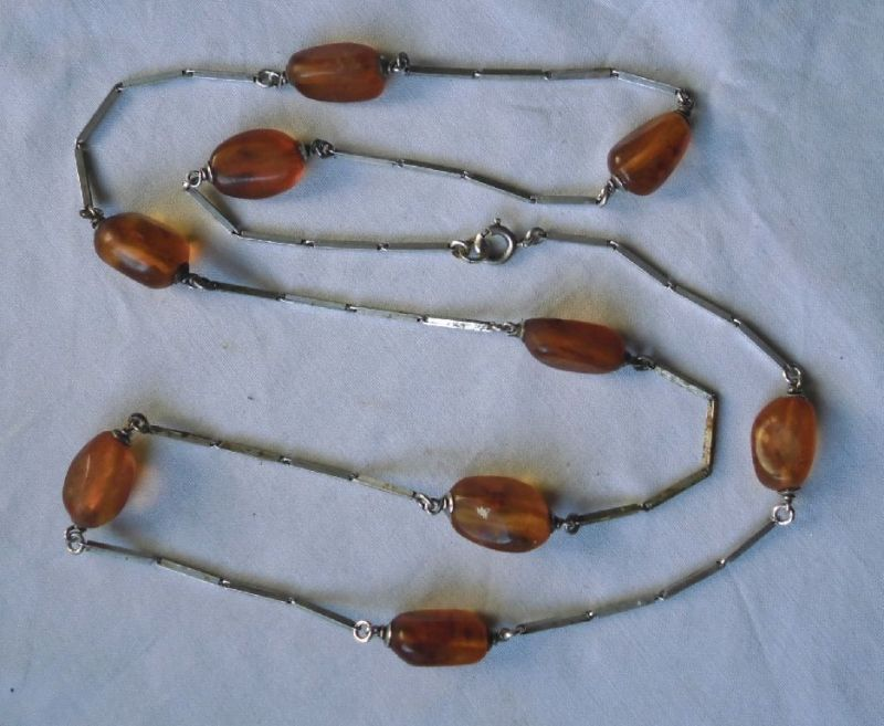 Antike Bernstein Kette Amber Necklace Natural Baltikum 925er Silber (101986)