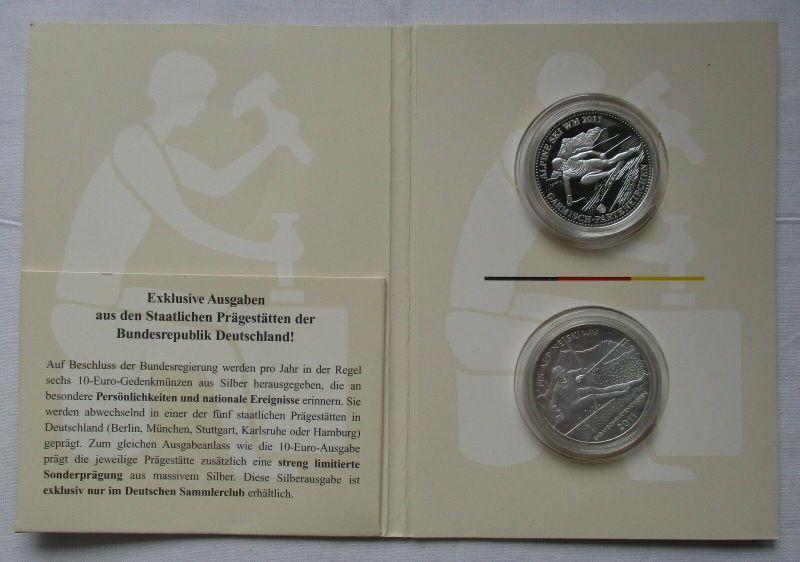 10 Euro Gedenkmünze BRD + Sonderprägung Silber FIS-Alpine Ski WM 2011 (129679)
